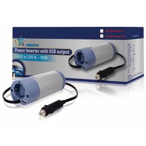 Power Inverter Modified Sine Wave 24 Vdc - Ac 230 V 100 W F (cee 7/3) / Usb, HQ