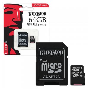 Mälukaart 64GB Micro SD Class10 Kingston Canvas Select