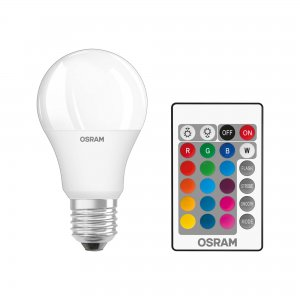 LED RETROFIT RGBW LAMP WITH REMOTE CONTROL, 9W, E27, 230 V