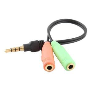 Üleminek 3.5mm AV pistik 4-pin - 2*3.5mm stereo pesa 3-pin