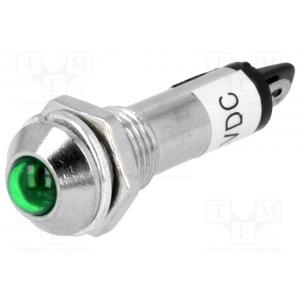 Indicator: LED; prominent; 24VDC; Cutout: Ø8.2mm; IP40; metal